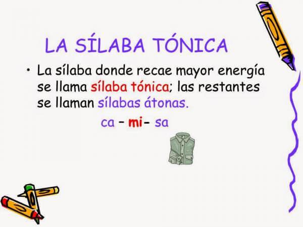 silaba tonica 1 - Reglas de acentuación