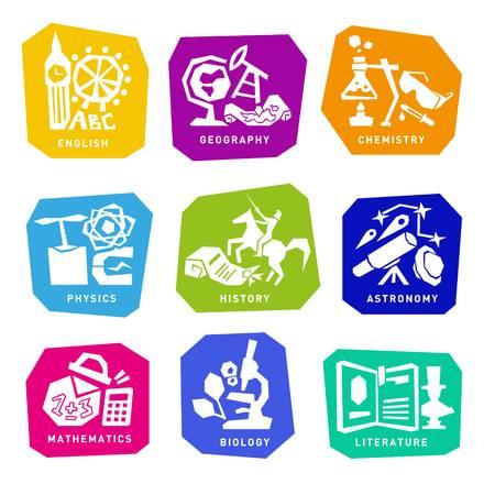 64444753 set con las materias escolares iconos de la educacion para el diseno web  - School Supplies
