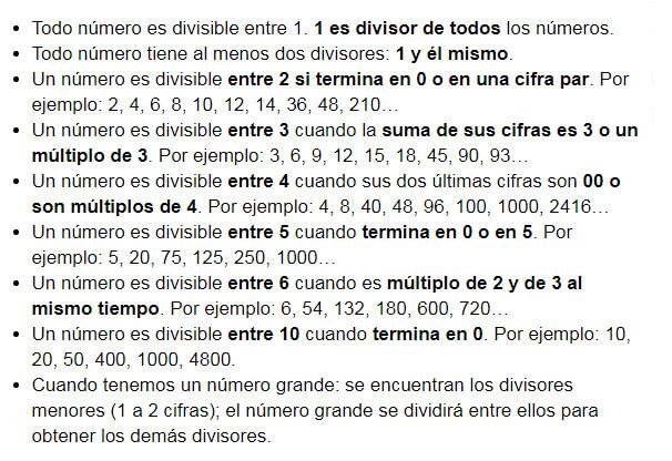 reglas de los divisores - Divisores